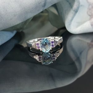 Sky Blue Topaz with Purple Cubic Zirconia in SS